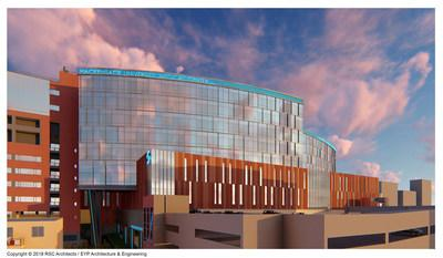 Rendering of Hackensack Meridian Health Hackensack University Medical Center's state-of-the-art, 530,000-square-foot patient pavilion along Second Street in Hackensack, NJ.