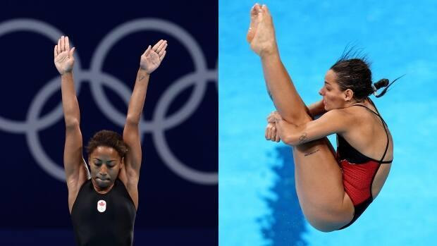 Canada's Jennifer Abel and Pamela Ware each qualified for three-metre springboard diving semifinals at the Tokyo Olympics on Friday in Japan. (Clive Rose/Getty Images, Maddie Meyer/Getty Images - image credit)