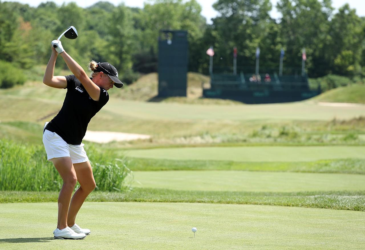 KOHLER, WI - JULY 08:  Stacy Lewis hits  her tee shot on the 15th hole during the final round of the 2012 U.S. Women's Open on July 8, 2012 at Blackwolf Run in Kohler, Wisconsin.  (Photo by Scott Halleran/Getty Images)