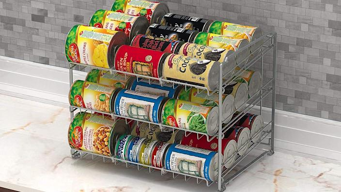 Bring order to messy cabinets with this useful can organizer.
