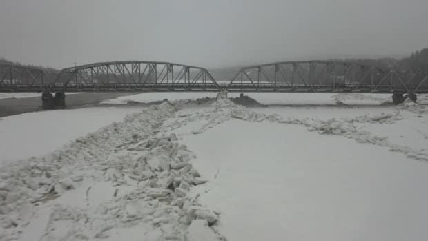 An ice jam in Perth-Andover raised water levels in the St. John River to less than a metre of the flood stage on Monday, March 29, 2021, but the river was back down below flood watch stage as of Tuesday.