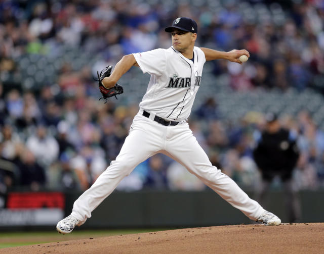 Seattle Mariners starting pitcher Marco Gonzales works against the Oakland Athletics during the first inning of a baseball game, Saturday, Sept. 28, 2019, in Seattle. (AP Photo/John Froschauer)