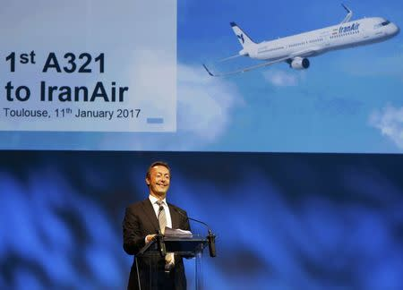 Airbus Chief Executive Officer Fabrice Bregier delivers his speech during the first delivery of an Airbus A321 to IranAir in Colomiers near Toulouse, France, January 11, 2017.   REUTERS/Regis Duvignau