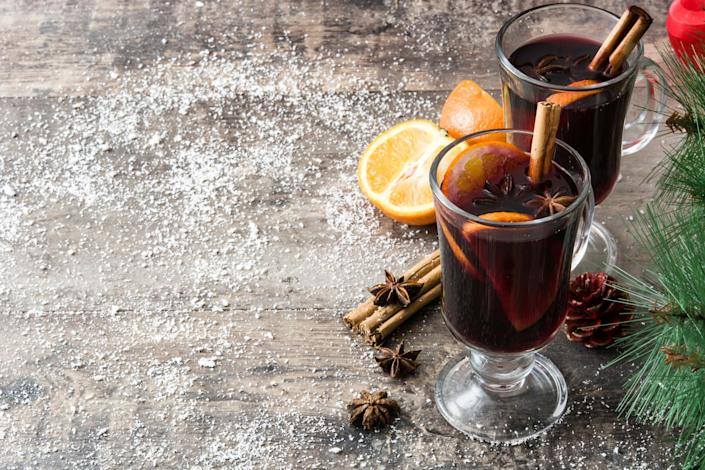 """<p>There's no time like the present to prep (and enjoy) mulled wine in the run-up to Christmas. Check out the easy-to-follow recipe over on the BBC's <a rel=""""nofollow noopener"""" href=""""https://www.bbcgoodfood.com/recipes/easy-mulled-wine"""" target=""""_blank"""" data-ylk=""""slk:Good Food"""" class=""""link rapid-noclick-resp"""">Good Food</a> website.<br><br><em>Ingredients:</em><br> 750ml bottle of red wine<br> 1 sliced clementine<br> 1 cinnamon stick<br> 1 star anise<br> 3 dried figs<br> 4 cloves<br> 3 black peppercorns<br> 50ml brandy<br><em>[Photo: Getty]</em> </p>"""