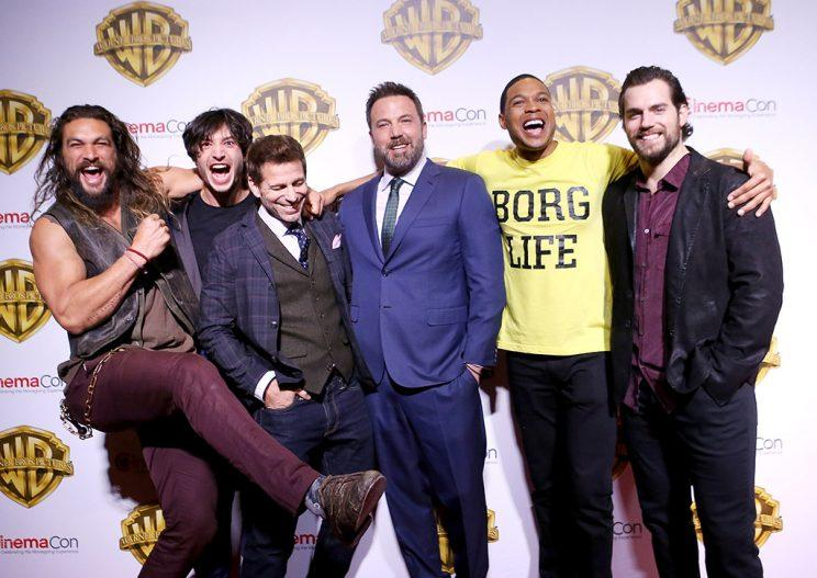 Ray Fisher, Ezra Miller, director Zack Snyder, Henry Cavill, Ben Affleck and Jason Momoa attend the CinemaCon 2017 - Warner Bros. Pictures presentation held at The Colosseum at Caesars Palace during CinemaCon, the official convention of the National Association of Theatre Owners, on March 29, 2017 in Las Vegas, United States.