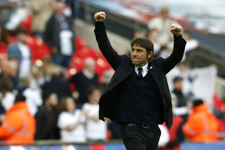 Chelsea's manager Antonio Conte celebrates after winning their FA Cup semi-final match against Tottenham Hotspur, at Wembley stadium in London, on April 22, 2017