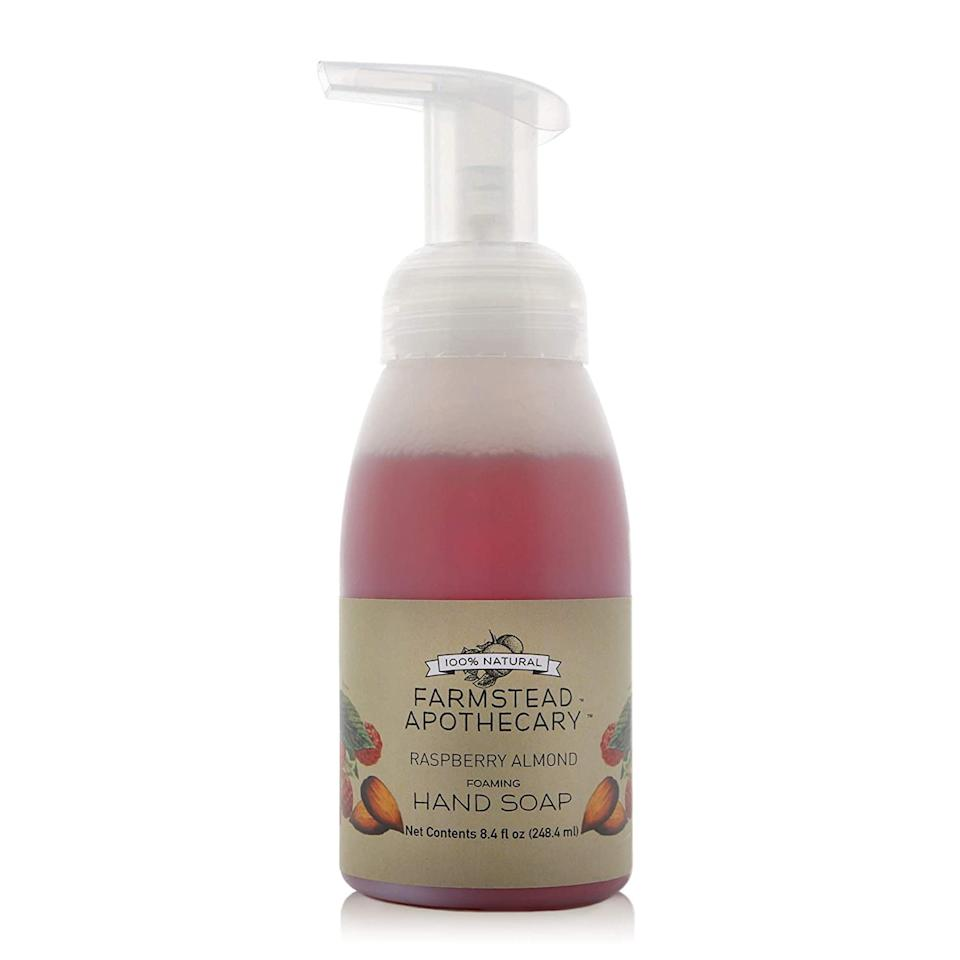 """<p>Not only does Farmstead Apothecary's Foaming Hand Soap smell divine (like a field of perfectly ripe raspberries), but it's made with nourishing ingredients like shea butter, vitamin E oil, safflower oil, and vegetable emulsifying wax, so post-wash, hands will smell <em>and</em> feel good.</p> <p><strong>$10</strong> (<a href=""""https://www.farmsteadapothecary.com/store/p8/Raspberry_Almond_Foaming_Hand_Soap.html"""" rel=""""nofollow"""">Shop Now</a>)</p>"""