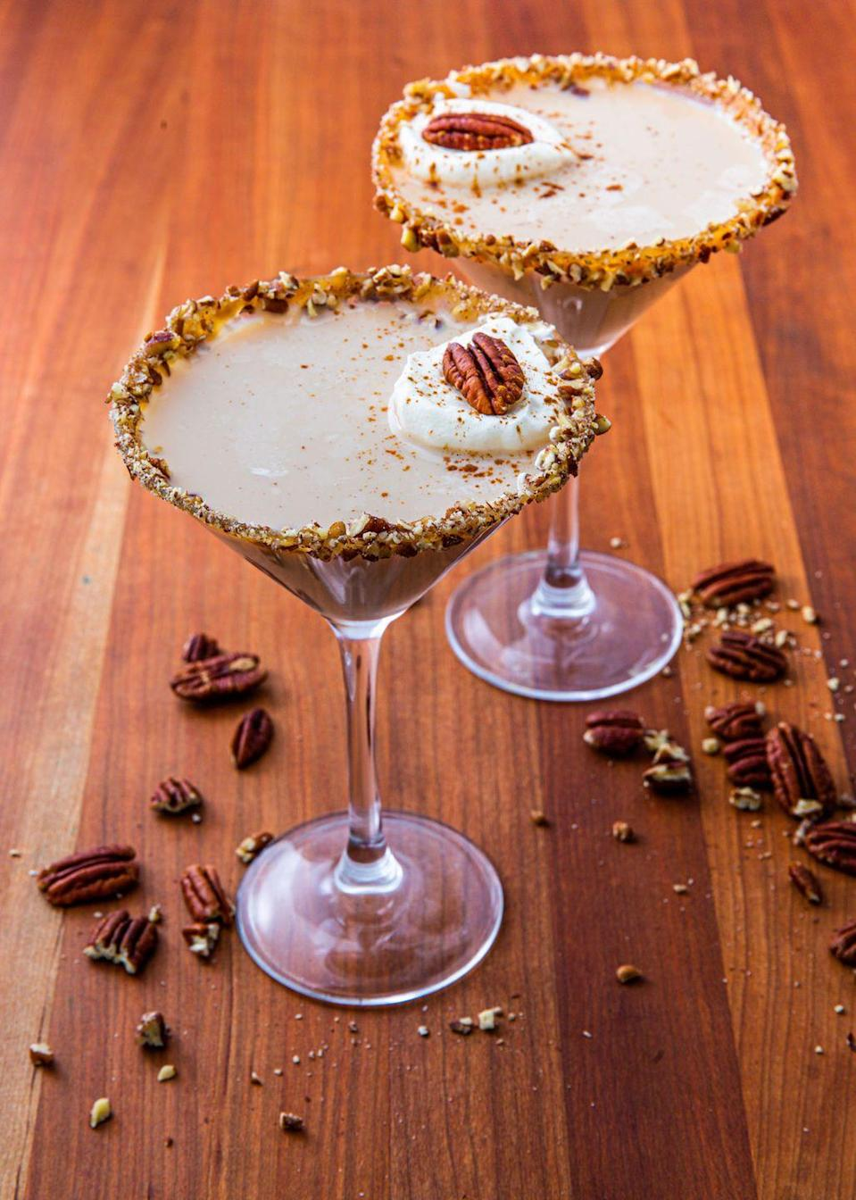 """<p>These martinis might <em>look</em> innocent, but trust us, they're STRONG. <br></p><p>Get the recipe from <a href=""""https://www.delish.com/cooking/recipe-ideas/a24132507/pecan-pie-martini-recipe/"""" rel=""""nofollow noopener"""" target=""""_blank"""" data-ylk=""""slk:Delish"""" class=""""link rapid-noclick-resp"""">Delish</a>.</p>"""
