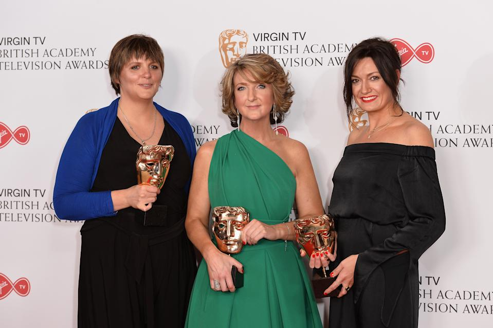 Louisa Compton, Victoria Derbyshire and Jo Adnitt, winners of the News Coverage award, pose in the Winner's room at the Virgin TV BAFTA Television Awards at The Royal Festival Hall on May 14, 2017 in London, England.  (Photo by Jeff Spicer/Getty Images)