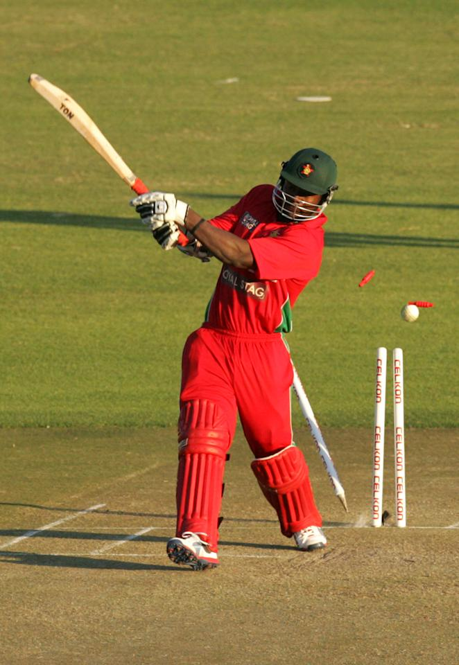 Zimbabwe's batsman Brian Vitori loses a wicket during the second one-day international ODI cricket match of a 5 match series between Zimbabwe and India on July 26, 2013 at the Harare Sports Club in Harare.  AFP PHOTO / Jekesai Njikizana        (Photo credit should read JEKESAI NJIKIZANA/AFP/Getty Images)