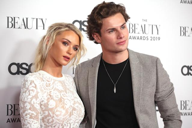 Lucie Donlan and Joe Garratt attend The Beauty Awards 2019 on November 25, 2019 in London, England. (Photo by Lia Toby/Getty Images)