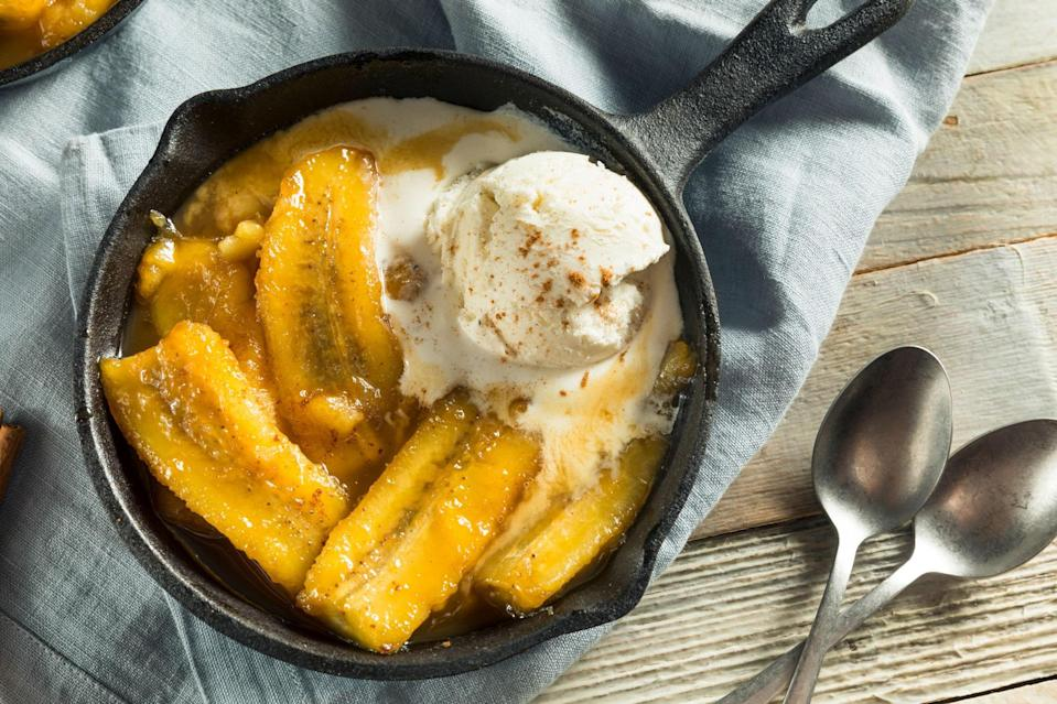 """<p>Bananas Foster, a favorite New Orleans dessert, was created by the Brennan family in the 1950s when they opened Brennan's restaurant in the French Quarter. It was named for a regular customer, Dick Foster. It never fails to please and is easy to prepare.</p> <p>If you're a New Orleanian old enough to remember NOPSI, New Orleans Public Service, Inc., you've probably sampled some of the hundreds of recipes the utility company published over the years, which were created by the company's home economists. This is one of their recipes.</p> <a href=""""https://www.epicurious.com/recipes/food/views/bananas-foster-351929?mbid=synd_yahoo_rss"""" rel=""""nofollow noopener"""" target=""""_blank"""" data-ylk=""""slk:See recipe."""" class=""""link rapid-noclick-resp"""">See recipe.</a>"""
