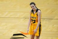 Iowa guard Caitlin Clark reacts during the second half of the team's NCAA college basketball game against Ohio State, Wednesday, Jan. 13, 2021, in Iowa City, Iowa. Clark, one of the top scorers in the nation, has been named the Big Ten's player of the week three times this season and has won the conference's freshman of the week honor six times. (AP Photo/Charlie Neibergall)