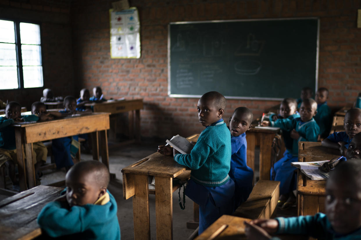 Children attend class at the Nyabitsinde Primary School, near Volcanoes National Park in Kinigi, Rwanda.(Photo: Felipe Dana/AP)