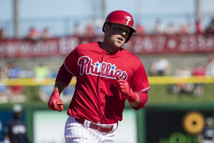 The Phillies aren't going to be quick in calling up top prospect Rhys Hoskins. (AP)