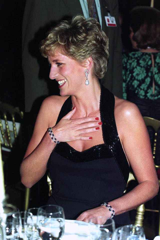 "<p>Princess Diana wore incredibly rare earrings to a charity dinner in Versailles back in 1994, when she opted for a pair boasting South Sea pearls for the prestigious occasion. The pearls could even be removed and transformed into sparkly studs. She wore this style in 1997 for a performance of ""Swan Lake."" (Photo: PA) </p>"