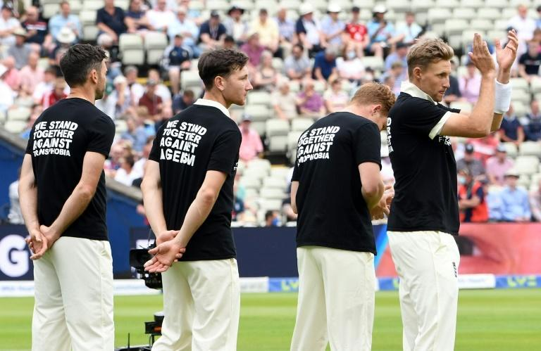 Message - England players wear T-shirts with messages against discrimination ahead of the second Test against New Zealand at Edgbaston