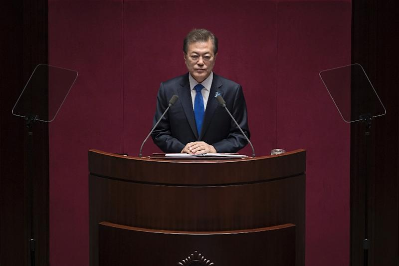 South Korean President Moon Jae-In will roll out the red carpet for Trump as Seoul seeks messages of assurance about the alliance and US resolve on North Korea (AFP Photo/Ed JONES)