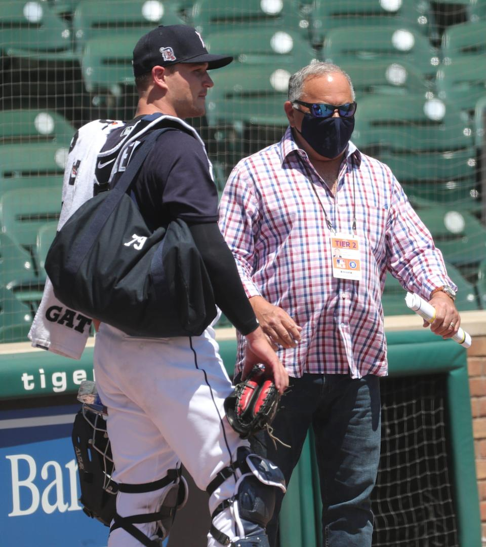 Detroit Tigers general manager Al Avila talks with catching prospect Dillon Dingler after practice at Comerica Park on July 4, 2020.