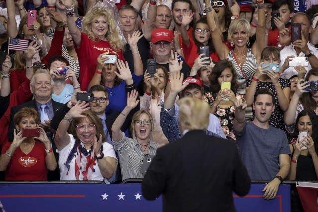 President Donald Trump acknowledges the audience during a rally at the Nashville Municipal Auditorium, May 29, 2018 in Nashville, Tennessee. (Photo: Getty Images).