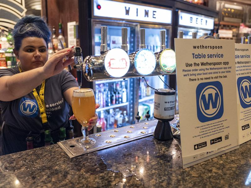 Regal Moon JD Wetherspoons pub on July 04, 2020 in Rochdale, England. The UK Government announced yesterday that pubs, restaurants and bars will have a 10pm curfew in an effort to curb coronavirus infection rates (Anthony Devlin/Getty Images)