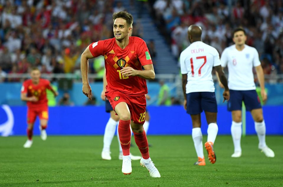 Adnan Januzaj celebrates after scoring the only goal of Belgium's 1-0 win over England on Thursday. (Getty)