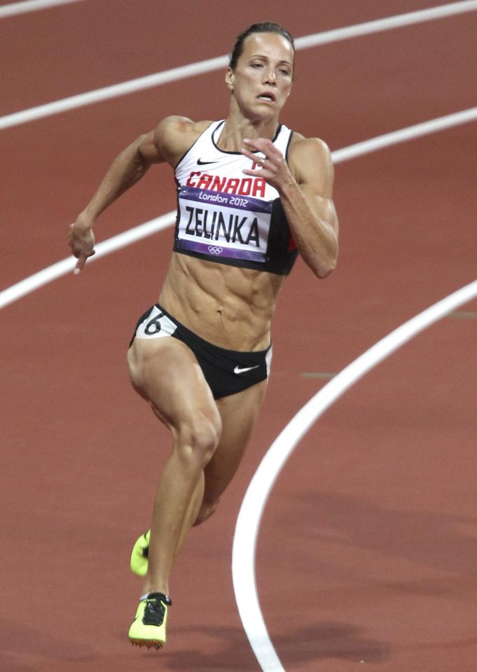 Jessica Zelinka of London, Ont. in the 200-metre heptathlon heats at the 2012 London Olympics, Friday, Aug. 3, 2012. THE CANADIAN PRESS/HO, COC - Mike Ridewood