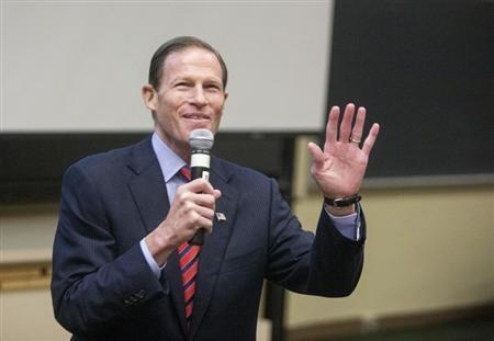 U.S. Senator Richard Blumenthal addresses the Marching On conference on gun violence prevention in Middletown
