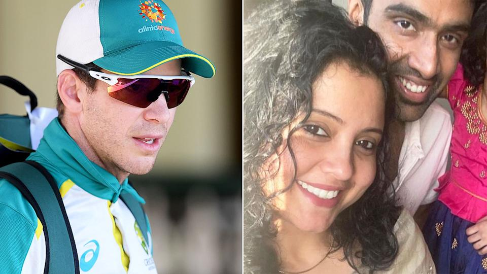 Seen here, Tim Paine alongside a photo of Ravi Ashwin and his wife Prithi.