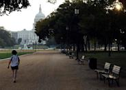 A woman walks past empty park benches on the closed National Mall near the U.S. Capitol during day three of the U.S. government shutdown in Washington October 3, 2013. REUTERS/Gary Cameron