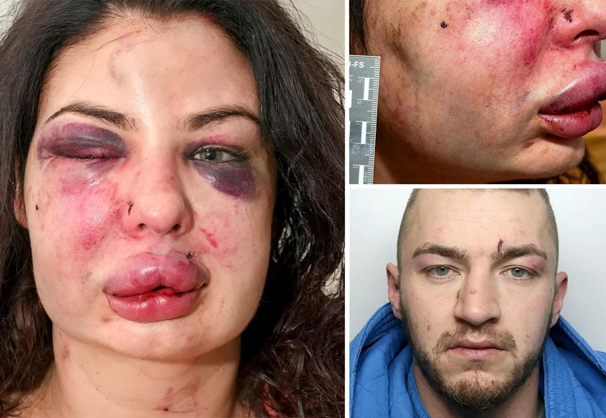 Aaron Marsden Booth, 27, savagely beat his ex-girlfriend before eventually surrendering to police. (SWNS)