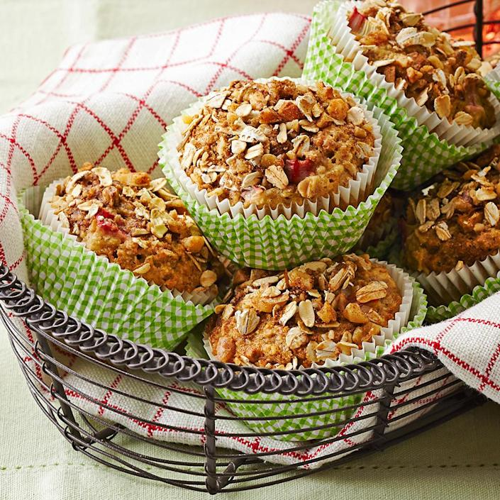 <p>These tasty rhubarb muffins have a sweet streusel topping and are ready in 45 minutes. Use regular rolled oats which have more texture than quick-cooking or instant rolled oats.</p>