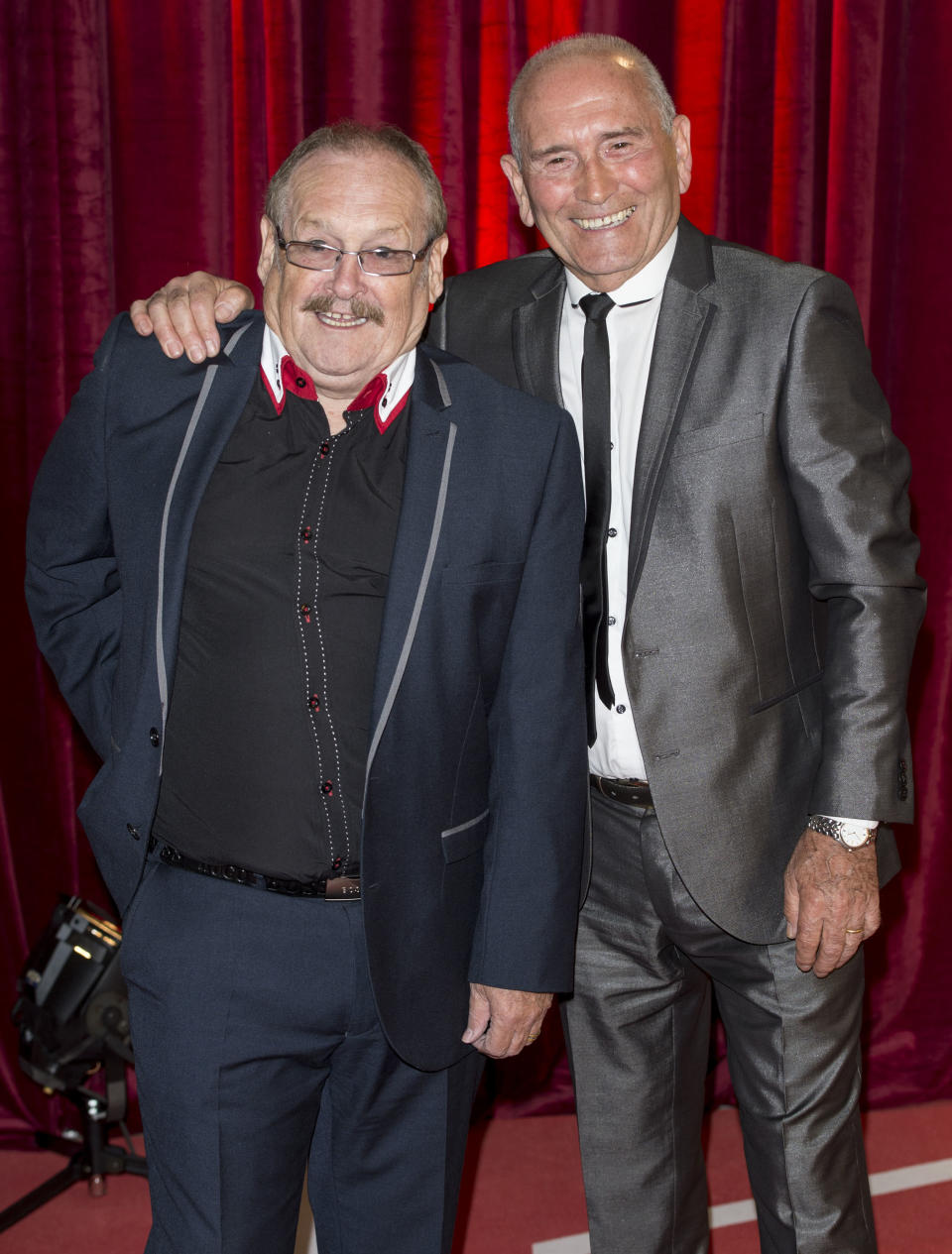 Bobby Ball and Tommy Cannon attend the British Soap Awards at Media City on May 18, 2013 in Manchester, England.  (Photo by Mark Cuthbert/UK Press via Getty Images)