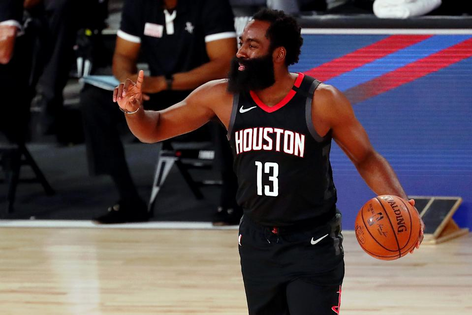 James Harden was the best player on the floor against a team with Anthony Davis. (Kim Klement-Pool/Getty Images)