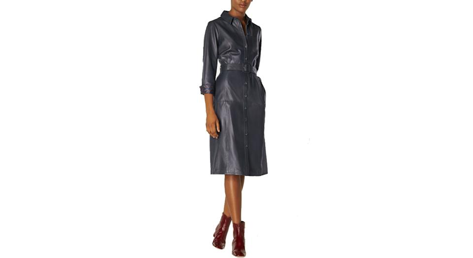 Gaia Navy Leather Shirt Dress
