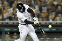 Detroit Tigers' Eric Haase hits an RBI-single against the Kansas City Royals in the sixth inning of a baseball game, Friday, Sept. 24, 2021, in Detroit. (AP Photo/Jose Juarez)