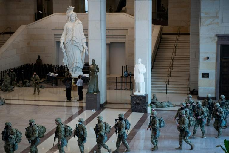 National Guard soldiers deploy from the Capitol Hill visitors center on their mission to provide security for Congress