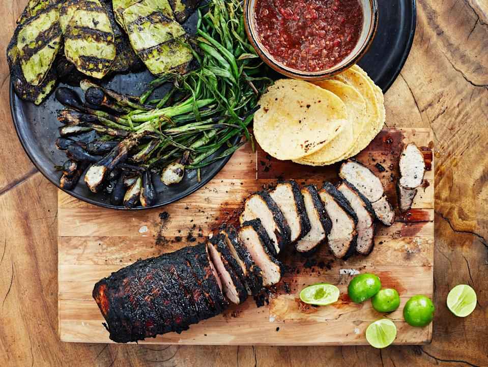 "The key to this adobo is truly burning the chiles and spices. Not browned, not toasted—burned. Try this at home; just open the windows and turn on the fan first. <a href=""https://www.bonappetit.com/recipe/grilled-pork-tenderloin-charred-chile-adobo?mbid=synd_yahoo_rss"" rel=""nofollow noopener"" target=""_blank"" data-ylk=""slk:See recipe."" class=""link rapid-noclick-resp"">See recipe.</a>"