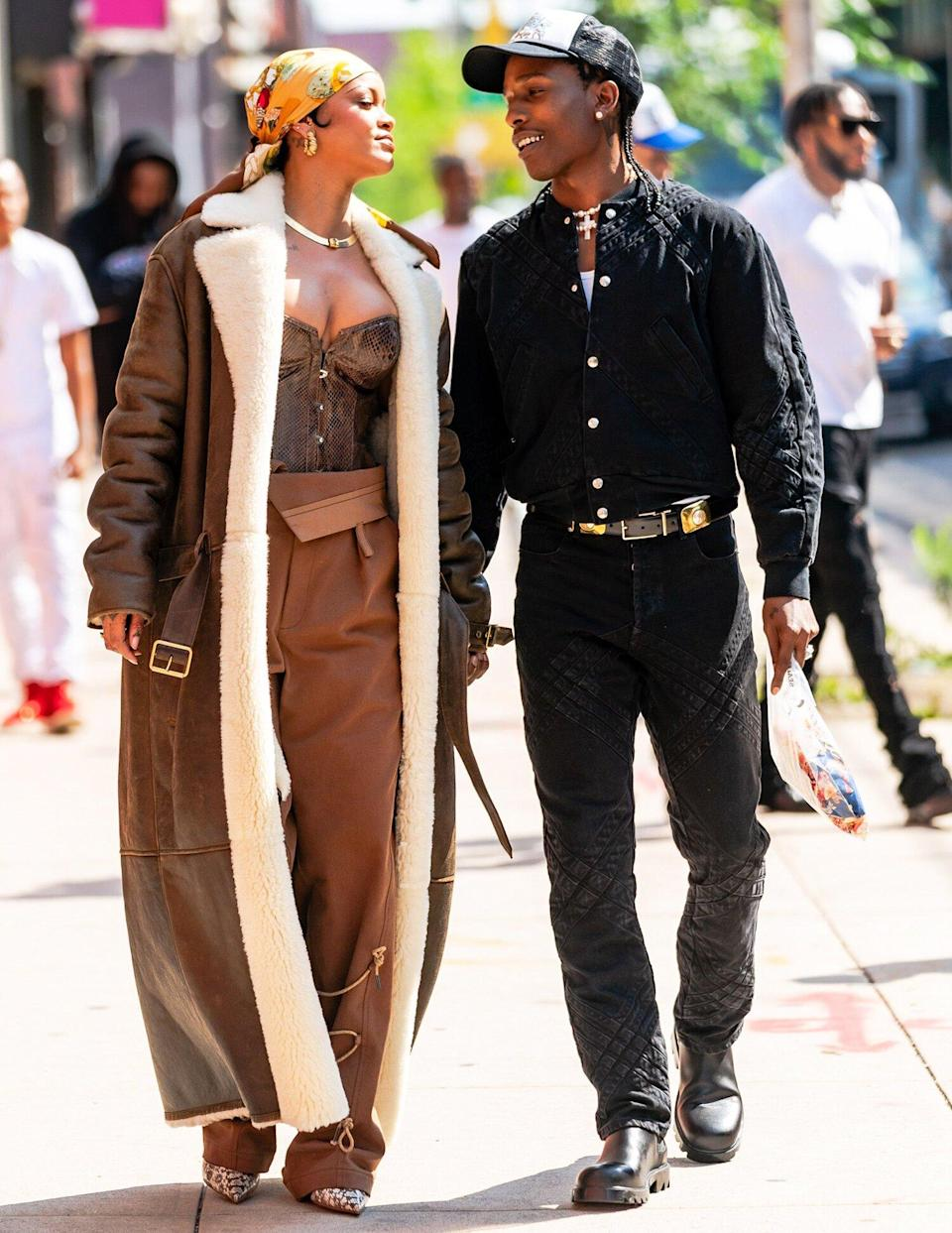 Rihanna and A$AP Rocky are seen filming a music video in the Bronx on July 10, 2021 in New York City.