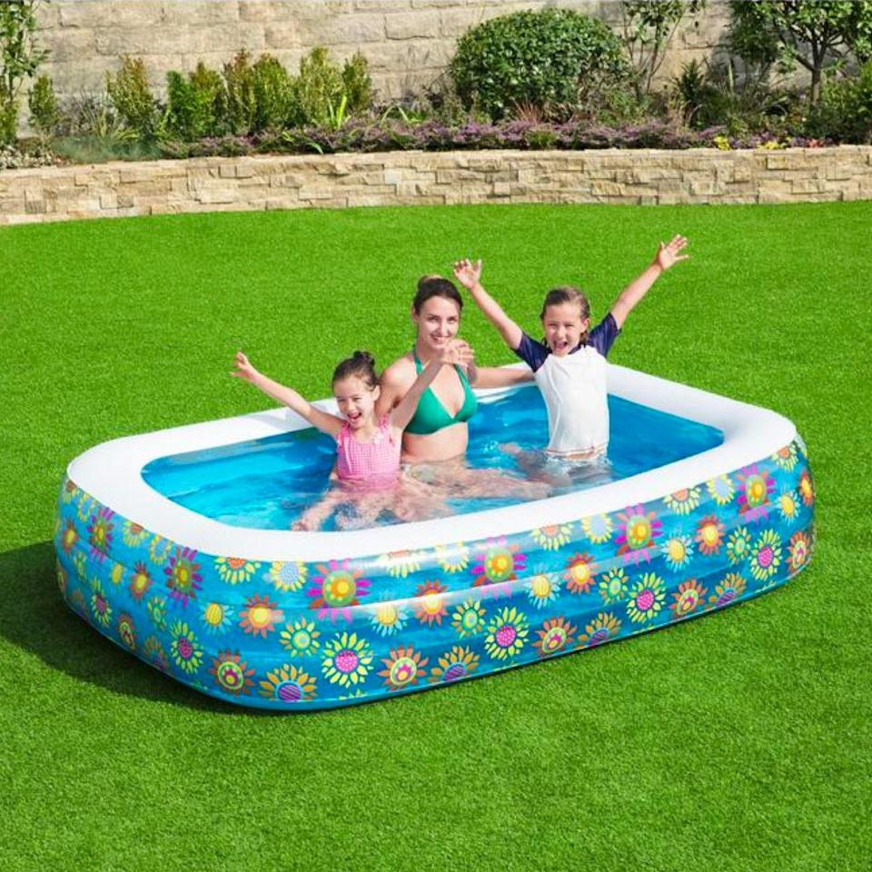 """Blast from the past? Yes. But this pool's white border will keep you from actually burning yourself despite playing Usher's """"Let It Burn"""" on repeat amidst your nostalgic summer daze. $49, Home Depot. <a href=""""https://www.homedepot.com/p/Bestway-Family-96-in-x-22-in-Rectangular-60-in-Deep-Above-Ground-Inflatable-Pool-54120/313807551"""" rel=""""nofollow noopener"""" target=""""_blank"""" data-ylk=""""slk:Get it now!"""" class=""""link rapid-noclick-resp"""">Get it now!</a>"""