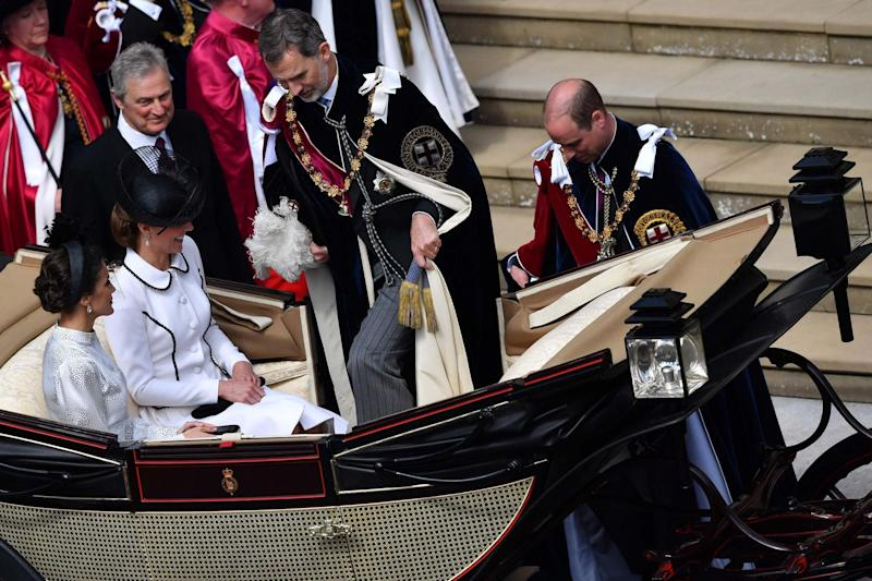 The Duke and Duchess of Cambridge pictured at the Most Noble Order of the Garter Ceremony in Windsor Castle (AFP/Getty Images)