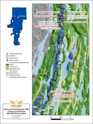 Figure 1 – Plan View of Colomac and Goldcrest Drilling (CNW Group/Nighthawk Gold Corp.)