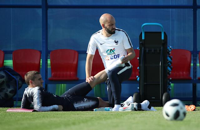 Soccer Football - World Cup - France Training - France Training Camp, Moscow, Russia - June 18, 2018 France's Antoine Griezmann receives medical attention during training REUTERS/Albert Gea