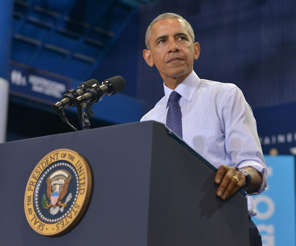 MIAMI, FL - NOVEMBER 03: U.S. President Barack Obama speaks during a campaign rally to a crowd of 4,500 people in support of Democratic presidential candidate Hillary Clinton at Florida International University on November 3, 2016 in Miami, Florida. Election day for the presidential candidates is 5 days away.  (Photo by JL) *** Please Use Credit from Credit Field ***