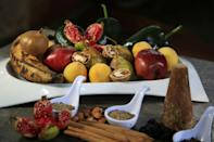 The traditional chile en nogada contains ingredients including poblano peppers, apples, pears, walnuts, almonds, raisins, brown sugar and spices, as well as ground pork and beef