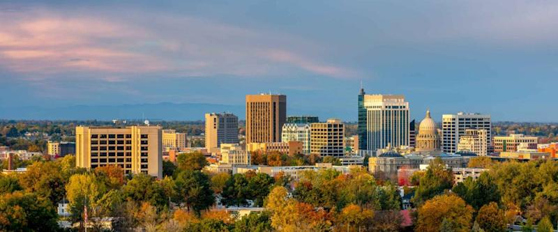 The skyline of Boise Idaho with Autumn trees in full bloom
