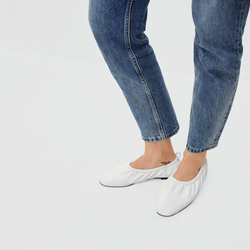 """<h2>Everlane The Scrunch Flat</h2><br>""""Ballet flats remind me of my middle school days, but I've recently been interested in incorporating them back into my wardrobe. I'm intrigued by Everlane's new flats style because they're classic, but a little funky. I think I'd wear them with baggy jeans and a tank."""" – <em>Kate Spencer</em>, <em>Creative & Updates Editor</em><br><br><em>Shop <a href=""""http://everlane.com/"""" rel=""""nofollow noopener"""" target=""""_blank"""" data-ylk=""""slk:Everlane"""" class=""""link rapid-noclick-resp"""">Everlane</a></em><br><br><strong>Everlane</strong> The Scrunch Flat, $, available at <a href=""""https://go.skimresources.com/?id=30283X879131&url=https%3A%2F%2Fwww.everlane.com%2Fproducts%2Fwomens-scrunch-flat-salt%3Fcollection%3Dwomens-shoes"""" rel=""""nofollow noopener"""" target=""""_blank"""" data-ylk=""""slk:Everlane"""" class=""""link rapid-noclick-resp"""">Everlane</a>"""