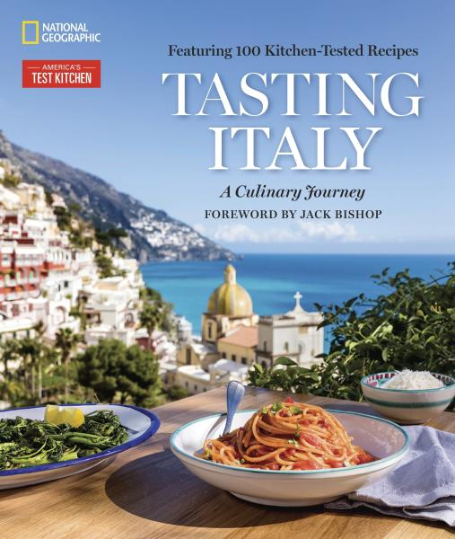 "This image provided by America's Test Kitchen in February 2019 shows the cover for the cookbook ""Tasting Italy."" It includes a recipe for Rosemary Focaccia. (America's Test Kitchen via AP)"