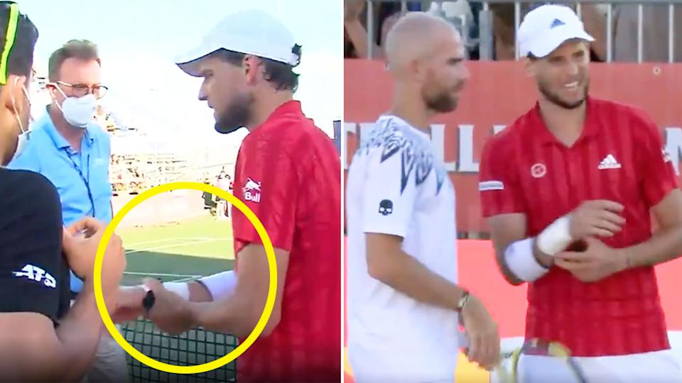 Pictured here, Dominic Thiem clutches at his troublesome wrist in the match at Mallorca.