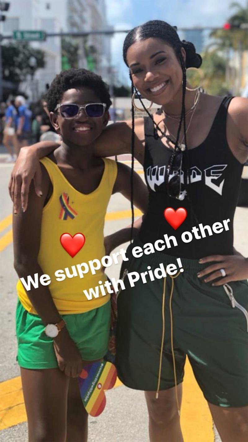 8566e27d7 Gabrielle Union Leads  Cheering Section  for Dwyane Wade s Son Zion at  Miami Pride Festival